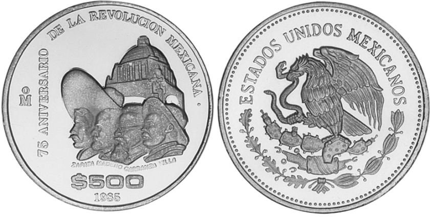 Mexico 1985 KM# 511 500 Pesos Proof
