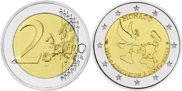 Monaco 2013 2 Euro The 20th anniversary of the ONU joining UNC