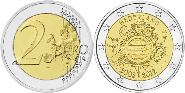 Netherlands 2012 2 Euro Ten years of euro banknotes and coins UNC