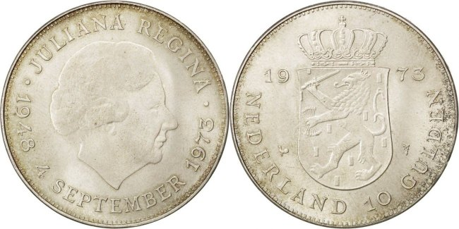 Netherlands 1973 KM# 196 10 Gulden AU-UNC