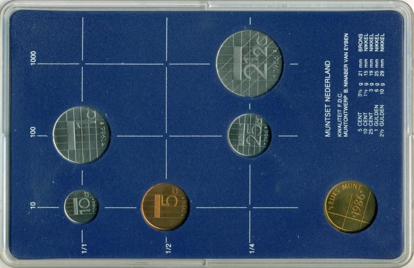 Netherlands 1986 KM# 202 - 206 Mint Set 5 coins UNC