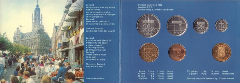 Netherlands 1992 KM# 202 - 206, 210 Mint Set 6 coins UNC