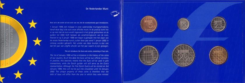 Netherlands 1999 KM# 202 - 206, 210 Mint Set 6 coins UNC