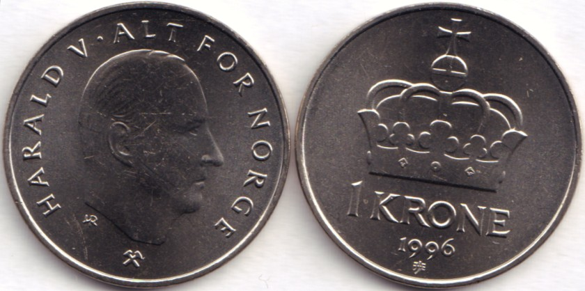 Norway 1996 KM# 436 1 Krone UNC