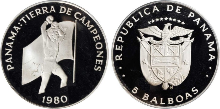 Panama 1980 KM# 63 5 Balboas Proof