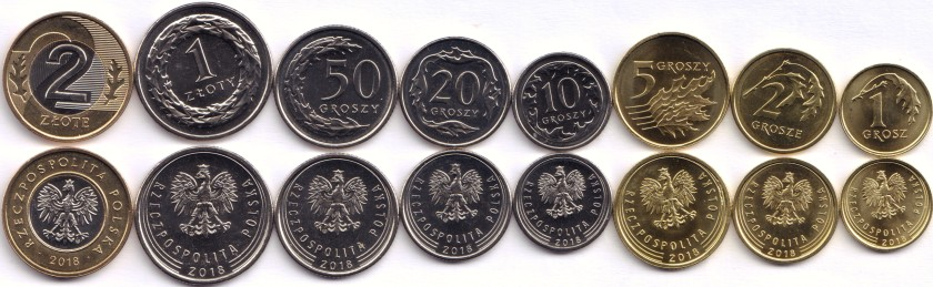 Poland 2018 8 coins UNC