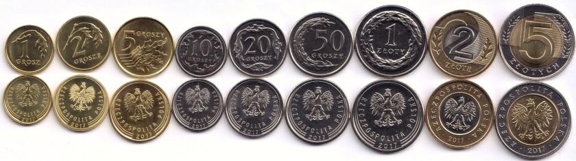 Poland 2017 9 coins UNC