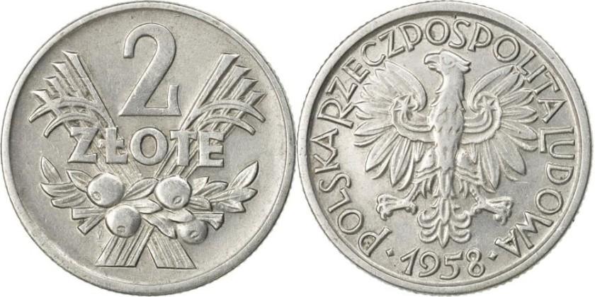 Poland 1958 Y# 46 2 Złote AU/UNC