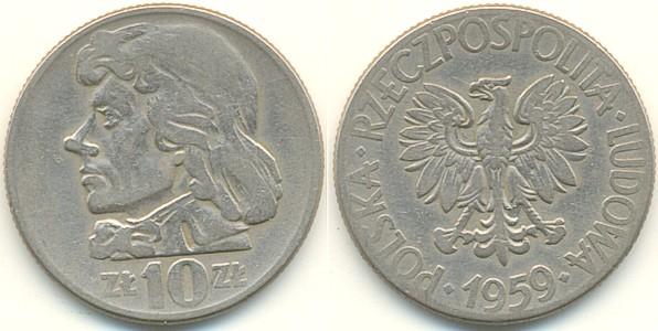 Poland 1959 Y# 50 10 Zlotych XF