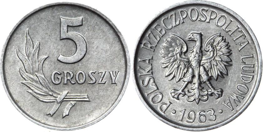 Poland 1963 Y# A46 5 Groszy AU/UNC