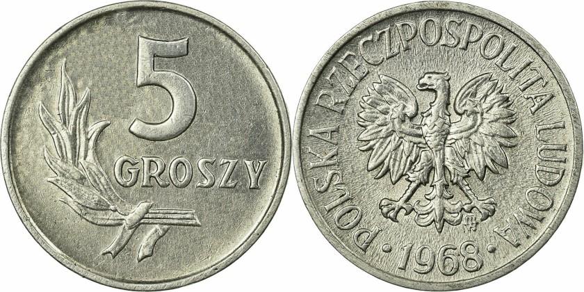 Poland 1968 Y# A46 5 Groszy AU/UNC