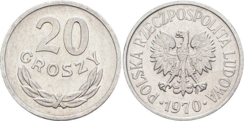 Poland 1970 Y# A47 20 Groszy AU/UNC