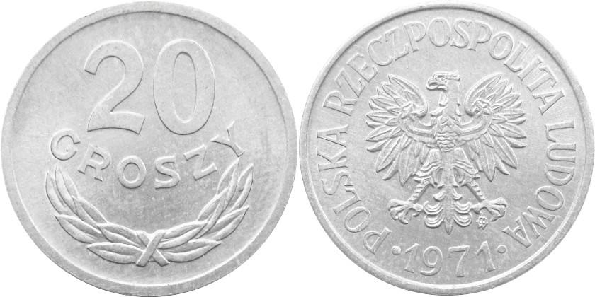 Poland 1971 Y# A47 20 Groszy AU/UNC