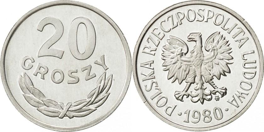 Poland 1980 Y# A47 20 Groszy AU/UNC