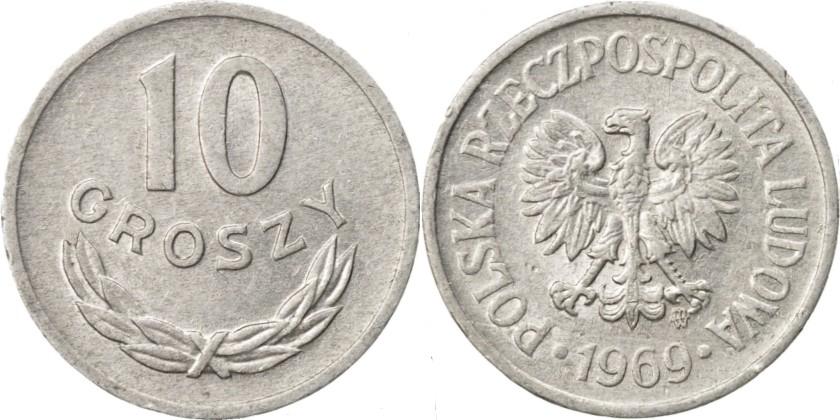 Poland 1969 Y# AA47 10 Groszy AU/UNC