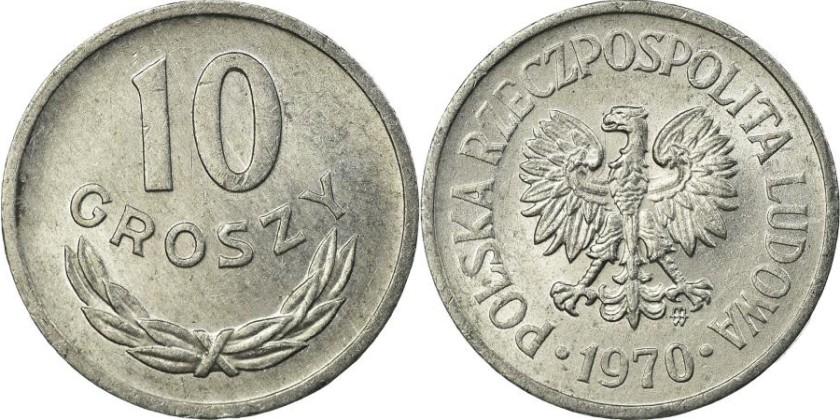Poland 1970 Y# AA47 10 Groszy AU/UNC