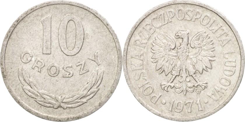 Poland 1971 Y# AA47 10 Groszy AU/UNC