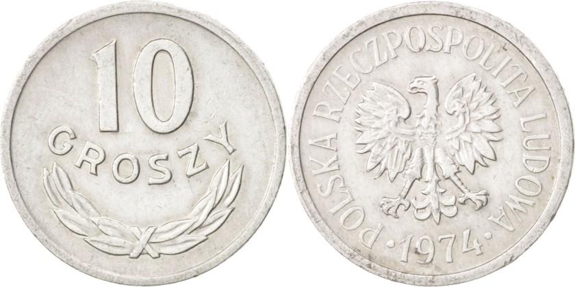 Poland 1974 Y# AA47 10 Groszy AU/UNC