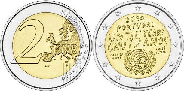 Portugal 2020 2 Euro 75th anniversary of the United Nations UNC