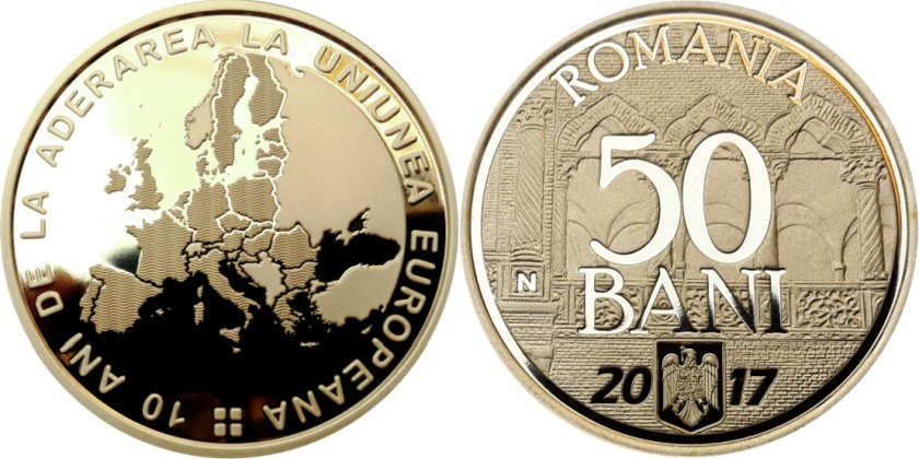 Romania 2017 50 Bani 10 years since Romania's accession to the European Union