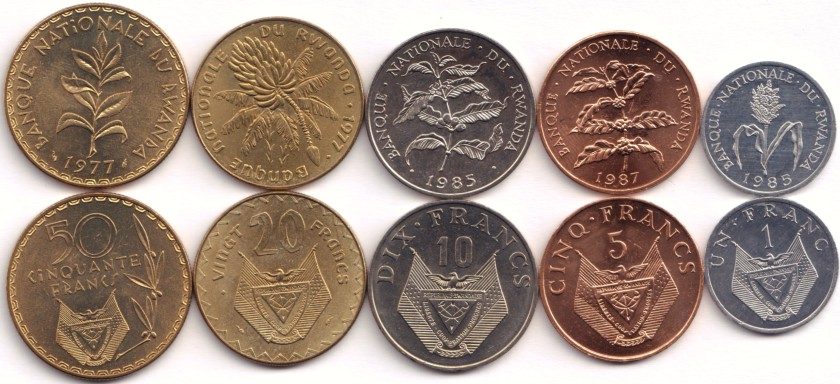 Rwanda 1977-1987 KM# 12-16 5 coins UNC