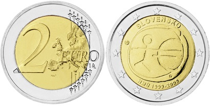 Slovakia 2009 2 Euro 10 Years of Monetary and Economic Union UNC