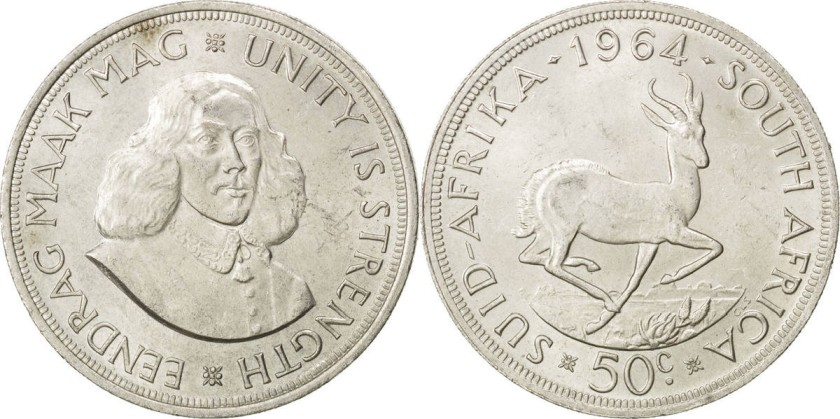 South Africa 1964 KM# 62 50 Cents Silver AU