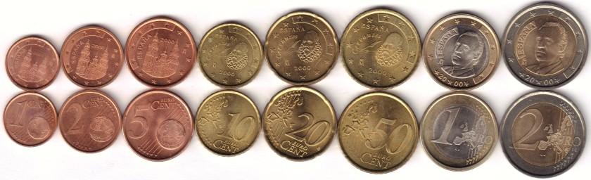 Spain 2000 Euro coins set UNC