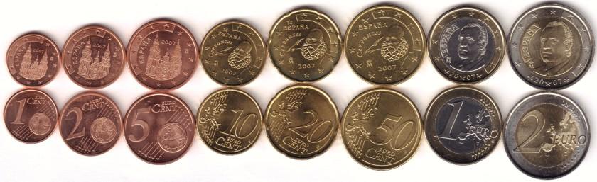 Spain 2007 Euro coins set UNC