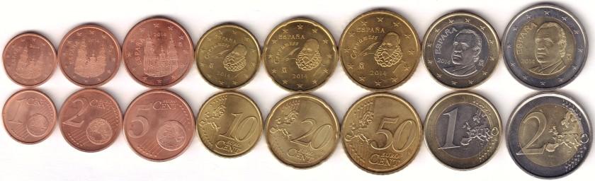 Spain 2014 Euro coins set UNC