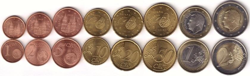 Spain 2015 Euro coins set UNC