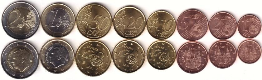Spain 2021 Euro coins set UNC