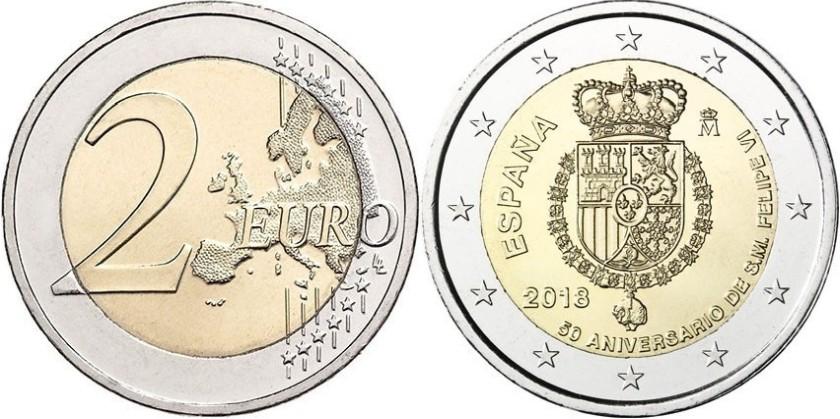 Spain 2018 2 Euro The 50th anniversary of King FELIPE VI UNC