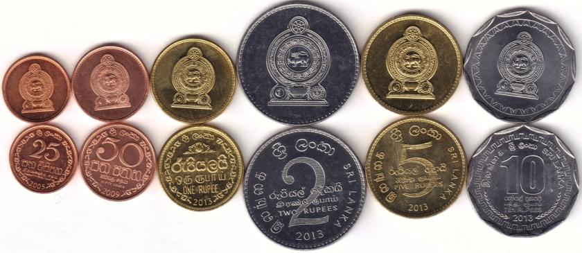 Sri Lanka 2005 - 2013 KM# 135, 136, 141, 147, 148, 181 6 coins UNC