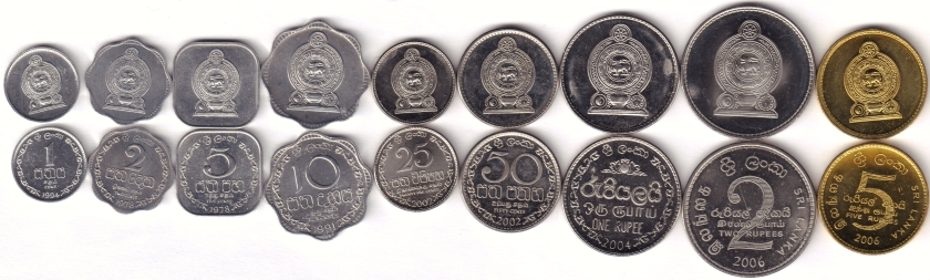 Sri Lanka 1978 - 2006 KM# 135 - 141,147,148 9 coins UNC