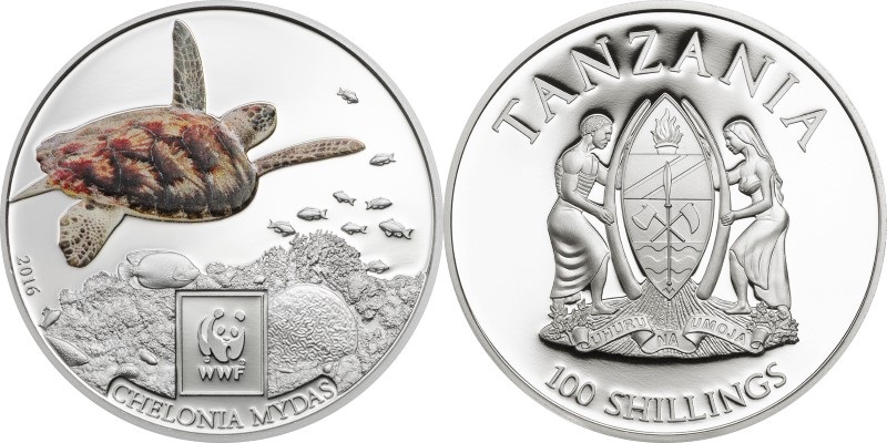 Tanzania 2016 Green sea turtle 100 Shillings Proof