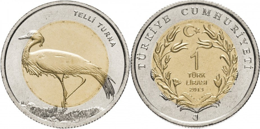 Turkey 2013 1 Lira Demoiselle crane UNC