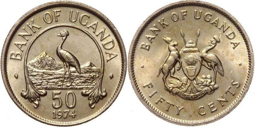 Uganda 1974 KM# 4 50 Cents UNC