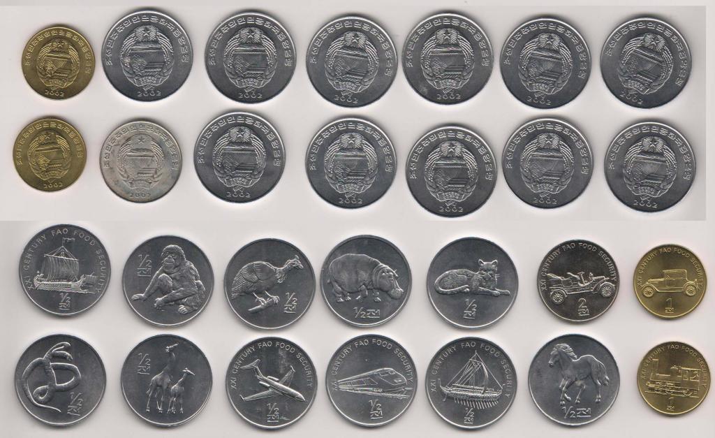 North Korea 2002 KM# 183 - 188, 190 - 197 14 coins UNC